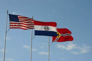 american and missouri state flag
