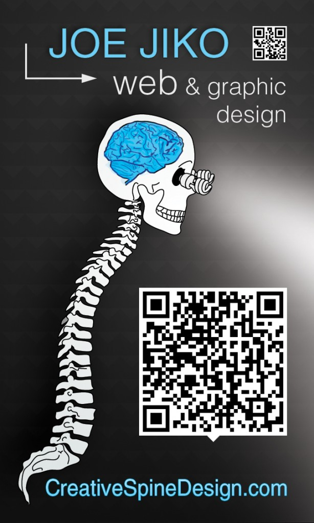 joe jiko creative spine vertical qr code business card v4