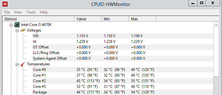 intel core i5 4670k temps